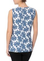 Anna Rose Laser Cut Print Top Navy/White - Gallery Image 2