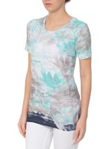 Anna Rose Watercolour Short Sleeve Jersey Top Navy/Teal - Gallery Image 1