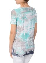 Anna Rose Watercolour Short Sleeve Jersey Top Navy/Teal - Gallery Image 2
