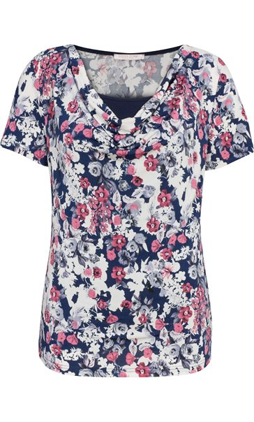 Anna Rose Short Sleeve Cowl Neck Jersey Top Navy/Pink/Ivory