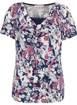 Anna Rose Short Sleeve Cowl Neck Jersey Top Navy/Pink/Ivory - Gallery Image 1