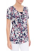 Anna Rose Short Sleeve Cowl Neck Jersey Top Navy/Pink/Ivory - Gallery Image 2