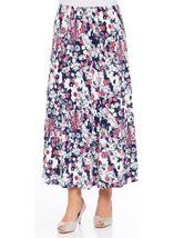 Anna Rose Jersey Panelled Elasticated Waist Skirt Navy/Pink/Ivory - Gallery Image 2