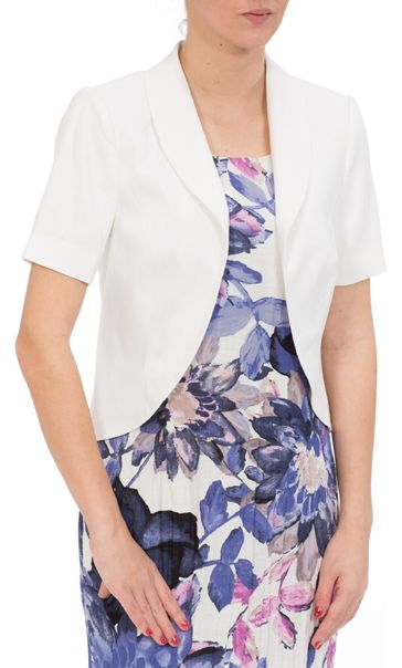 Anna Rose Short Sleeve Linen Blend Jacket White