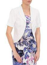 Anna Rose Short Sleeve Linen Blend Jacket White - Gallery Image 1