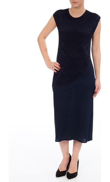 Lace Over Layer Pleated Midi Dress Navy