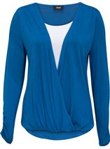 Long Sleeve Draped Jersey Top Cobalt/White - Gallery Image 1