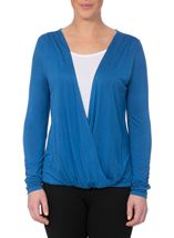 Long Sleeve Draped Jersey Top Cobalt/White - Gallery Image 2