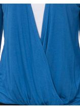 Long Sleeve Draped Jersey Top Cobalt/White - Gallery Image 4