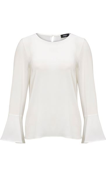 Long Bell Sleeve Textured Top Ivory