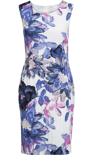 Anna Rose Printed Crinkle Shift Dress Ivory/Pink/Lilac