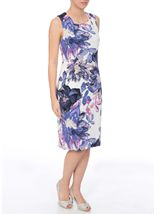 Anna Rose Printed Crinkle Shift Dress Ivory/Pink/Lilac - Gallery Image 2