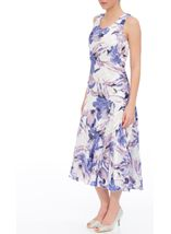 Anna Rose Bias Cut Floral Sleeveless Dress Ivory/Lilac - Gallery Image 1
