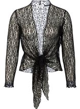 Anna Rose Sparkle Knit Tie Cover Up Black - Gallery Image 3