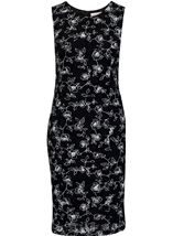 Anna Rose Floral Printed Fitted Midi Dress Black - Gallery Image 1