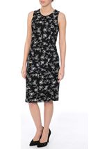 Anna Rose Floral Printed Fitted Midi Dress Black - Gallery Image 2
