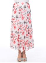 Anna Rose Panelled Floral Printed Chiffon Skirt Woodchip - Gallery Image 2