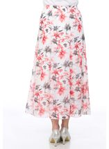 Anna Rose Panelled Floral Printed Chiffon Skirt Woodchip - Gallery Image 3