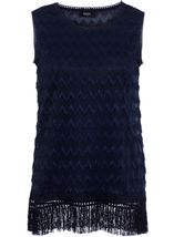 Sleeveless Lace Top Navy - Gallery Image 1