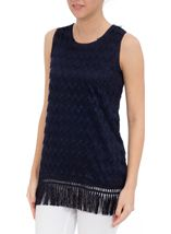 Sleeveless Lace Top Navy - Gallery Image 2