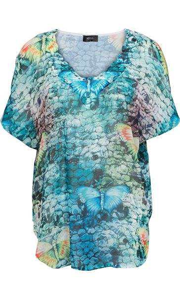 Embellished Butterfly Print Georgette Top Multi Jade/Blue