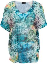 Embellished Butterfly Print Georgette Top Multi Jade/Blue - Gallery Image 1