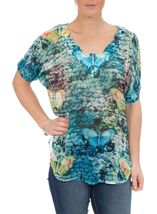 Embellished Butterfly Print Georgette Top Multi Jade/Blue - Gallery Image 2