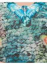 Embellished Butterfly Print Georgette Top Multi Jade/Blue - Gallery Image 4