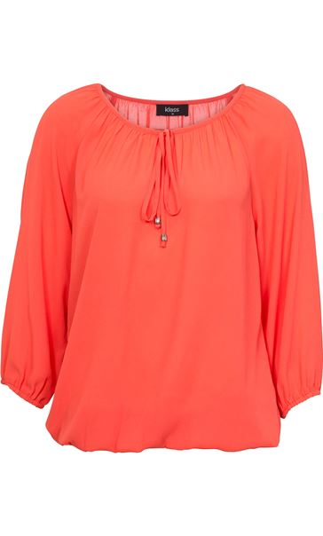 Three Quarter Sleeve Tie Neck Top Coral