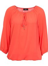 Three Quarter Sleeve Tie Neck Top Coral - Gallery Image 1