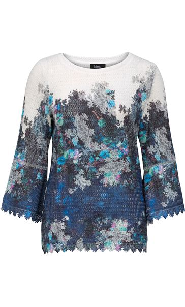 Floral Bell Sleeve Knitted Top Navy/Blue