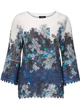 Floral Bell Sleeve Knitted Top Navy/Blue - Gallery Image 1