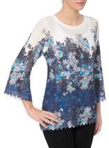 Floral Bell Sleeve Knitted Top Navy/Blue - Gallery Image 2