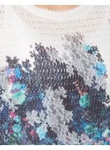 Floral Bell Sleeve Knitted Top Navy/Blue - Gallery Image 4