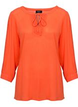 Three Quarter Sleeve Crochet Trim Top Coral - Gallery Image 1