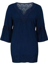 Embroidered Fluted Sleeve Top Blue - Gallery Image 1