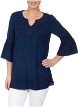 Embroidered Fluted Sleeve Top Blue - Gallery Image 2