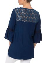 Embroidered Fluted Sleeve Top Blue - Gallery Image 3