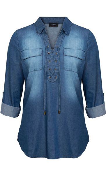 Turn Sleeve Lace Up Cotton Top Denim