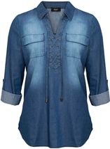 Turn Sleeve Lace Up Cotton Top Denim - Gallery Image 1