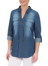Turn Sleeve Lace Up Cotton Top Denim - Gallery Image 2
