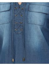 Turn Sleeve Lace Up Cotton Top Denim - Gallery Image 4