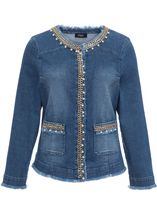 Embellished Long Sleeve Denim Jacket Denim - Gallery Image 1
