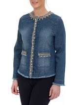 Embellished Long Sleeve Denim Jacket Denim - Gallery Image 2