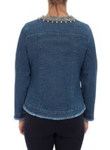 Embellished Long Sleeve Denim Jacket Denim - Gallery Image 3