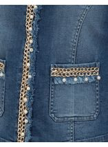 Embellished Long Sleeve Denim Jacket Denim - Gallery Image 4