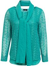 Layered Long Sleeve Scarf Top Jade - Gallery Image 1