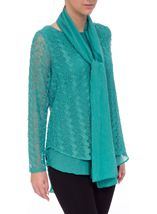 Layered Long Sleeve Scarf Top Jade - Gallery Image 2