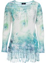 Feather Sublimation Print Crochet Trim Top Jade - Gallery Image 1