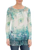 Feather Sublimation Print Crochet Trim Top Jade - Gallery Image 2